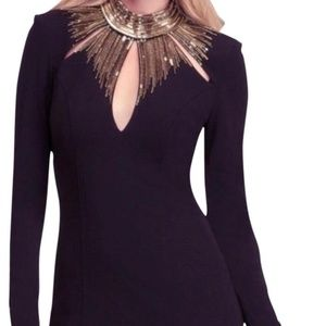 Black with Gold Sequin Long Sleeve Dress - M